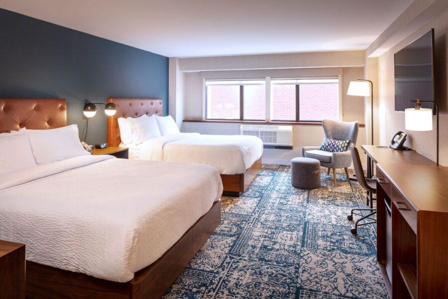 block of hotel rooms